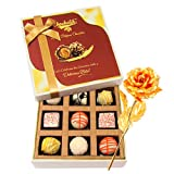 Valentine Chocholik Premium Gifts - Precious Collection Of White Chocolates With 24k Gold Plated Rose
