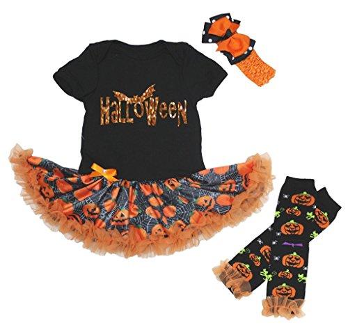 Petitebelle Glitter pipistrello Body zucche tutù Leg Warmer nb-18m Orange S