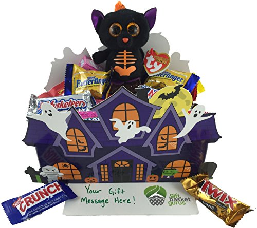 Halloween Haunted House: Candy-filled Gift Basket with TY Beanie (Fangs) (Halloween Candy Baskets)