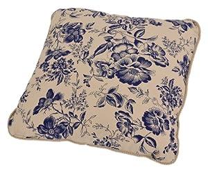 Ellis Curtain Palmer Floral Toile Toss Pillow, Navy