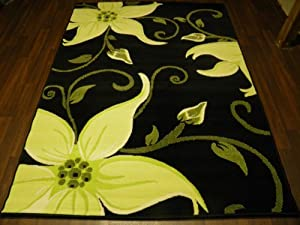 Modern Lily Design Approx 6x4 (115cm x 165cm) Black/Green Available In 9 Colours Top Quality Rugs from OrientalRugCompany