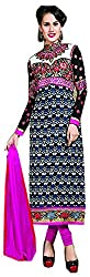 Go Traditional Women's Georgette Unstitched Dress Material (Black)