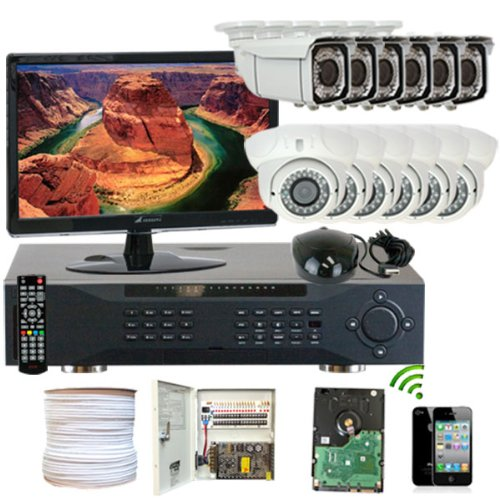 Gw Security Inc 12Che6 16 Channel H.264 960H/Fd1 Dvr With 12 X Effio Ccd 700 Tv Lines 2.8 To 12Mm Vari-Focal Lens Security Camera System (White)
