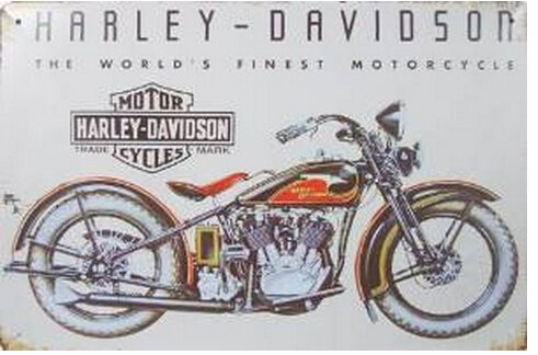 Harley Davidson : The World's Finest Motorcycle ,Metal Tin Sign, Vintage Style Wall Ornament Coffee & Bar Decor, 20 X 30 Cm. 0