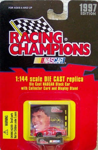 1997 Edition Racing Champions Michael Waltrip #21 1:144 Scale Die Cast Replica w/Collector Card and Display Stand - 1
