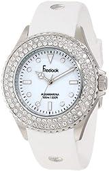 Freelook Women's HA9036-9 White Band & Dial Ss Case Swarovski Bezel Watch