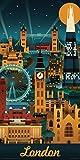 Lantern Press London England Retro Skyline Illustrated Decorative Travel City Art Poster Print, Rolled 12 by 24