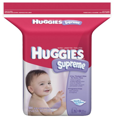Huggies Supreme Thick-N-Clean Fragrance Free Baby Wipes Refill, 184-Count Pack (Pack of 3) [Package May Vary]