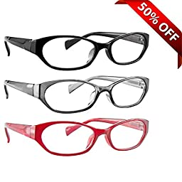 Reading Glasses 3 Pack with Red, Black & Grey _ Always have a Stylish Look & Crystal Clear Vision When You Need It! _ Comfort Spring Arms & Dura-Tight Screws _ 180 Day Guarantee +1.75