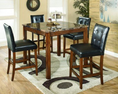 Contemporary Warm Brown Counter Height Table Set
