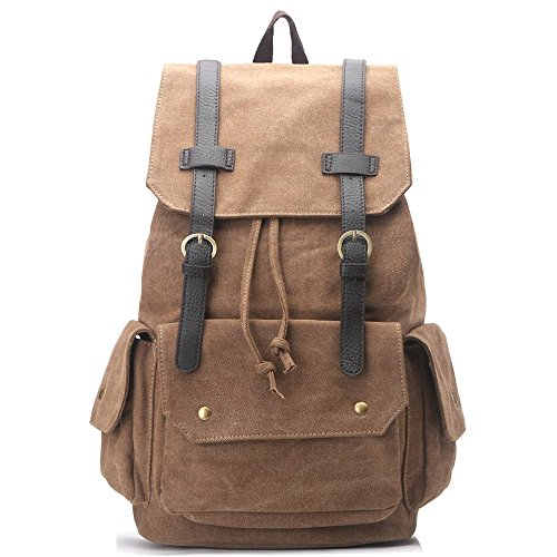 New Zebella Canvas Leather Casual Daypack Shoulder Backpack Weekender Bag Schoolbag