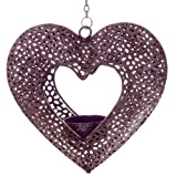Antique Purple Fretwork Heart Metal Hanging Tealight Holder