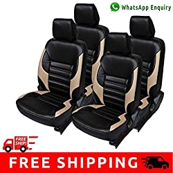 Autofact Brand PU Leatherite Car Seat Covers for Maruti Car 800 Old Model in Black with Beige