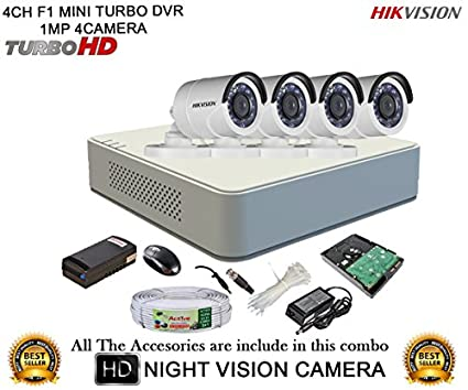 Hikvision-DS-7104HGHI-F1-Mini-4CH-Dvr,-4(DS-2CE16C2T-IRP)-Bullet-Cameras-(With-Mouse,-1TB-HDD,-Bnc&Dc-Connectors,Power-Supply,Cable-)