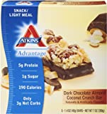 Atkins Advantage Dark Chocolate Almond Coconut Crunch, 1.4 Ounce Bars,  5-count Box