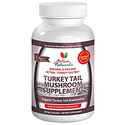 Activa Naturals Turkey Tail Mushrooms Immune Support Supplement - 120 Veg. Caps