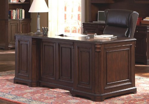 Rich Dark Finish Home Office Writing Desk With Storage Drawers