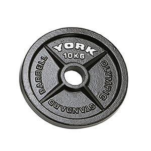 """York Fitness Plaques olympiques, noir, 10 kg,  avec trous de 2"""" (5,08 cm)"""