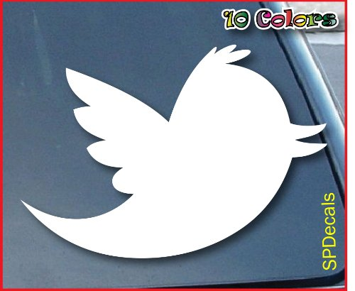 Twitter Bird Car Window Vinyl Decal Sticker 6″ Wide (Color: White)