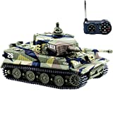 BlueFit German Tiger I Panzer Tank with Remote Control, Battery, Light, Sound, Rotating Turret and Recoil Action When Cannon Artillery Shoots, Mini 1:72 Scale, Assorted Color