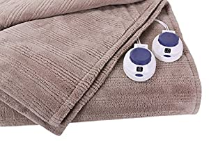 Soft Heat Ultra Micro-Plush Low-Voltage Electric Heated Triple-Rib King Size Blanket, Beige