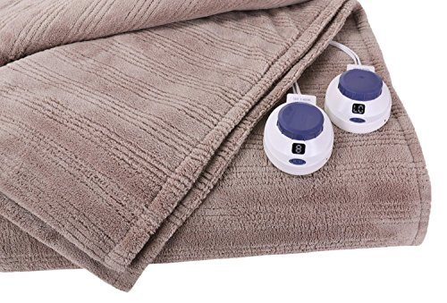 Soft Heat Ultra Micro-Plush Low-Voltage Electric Heated Triple-Rib King Size Blanket, Beige (Heated Blanket King White compare prices)