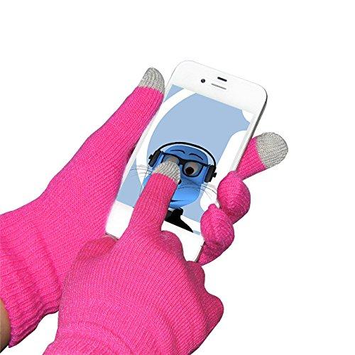 Rosa unisex completa Finger Gloves Unica TouchTip TouchScreen invernali per Samsung I110 Illusion