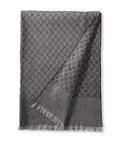 a & R Cashmere Wool & Cashmere Designer Diamond Throw, Heather/Charcoal Grey