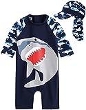[Vaenait Baby] Baby Cooling Jaws L+Flap cap S 0-24ヶ月UVカット ラッシュガードベビー子供男の子長袖ワンピース水着セット