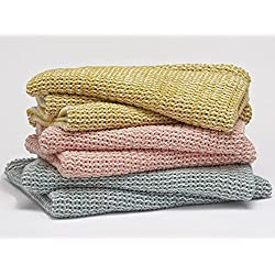 Coyuchi Chenille Chunky Weave Blanket Throws (Sunflower)