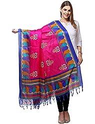 Hare Krishna Fabrics Women's Cotton Silk Dupatta (Pink & Blue)