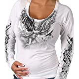 Hot Leathers Angel Statue Ladies Long Sleeve Tee  (GLC3121, White, Medium)