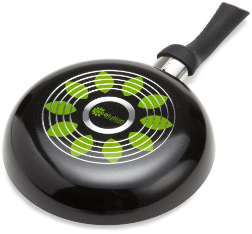 "Ecolution Artistry Non-Stick Fry Pan - Eco-Friendly PFOA Free Hydrolon Non-Stick - Pure Heavy-Gauge Aluminum with a Soft Silicone Handle - Dishwasher Safe - Black - 8"" Diameter"