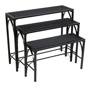 Panacea Products Gothic 3-Tier Nesting Plant Stand, Black by Pan