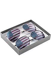 American Flag USA Classic Teardrop Metal Aviator Sunglasses (Silver + Gunmetal)