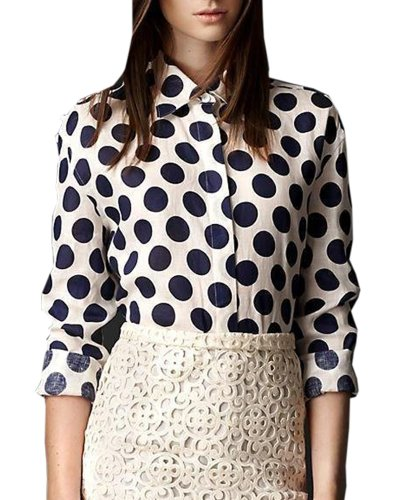 HaboZoo Womens Dot Print Long Sleeve Lapel Collar Blouse Shirt Blk Medium