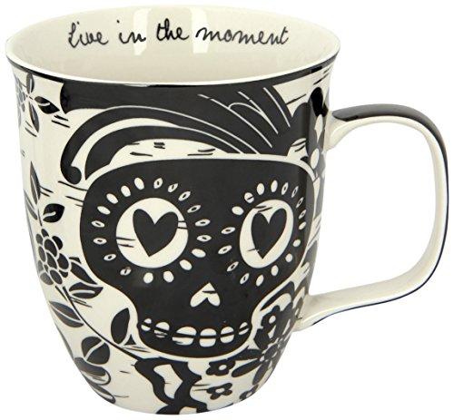 Karma Gifts Boho Sugar Skull Mug, Black/White (Skull Mug Coffee compare prices)