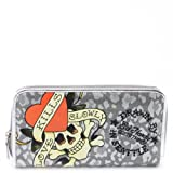 Ed Hardy Animalia Spring Zip Around Wallet - Silver