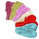 Luxury Divas Warm Fuzzy 6 Pack Ballet Slipper No Show Non Skid Socks