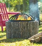 Faux Tree Stump Fire Pit With Spark Guard, Grate And Poker