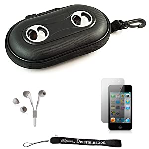 Black Portable Hard Case Cover Shell with Integrated Speakers for New Apple iPod Touch 4 ( 4th Generation 8GB 16GB 32GB ) + Includes Anti Glare Screen Protector Guard + Includes High Quality HD Noise Filter Earphones