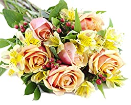 Mix And Match Orange Rose & Yellow Alstro Bouquet - Without Vase