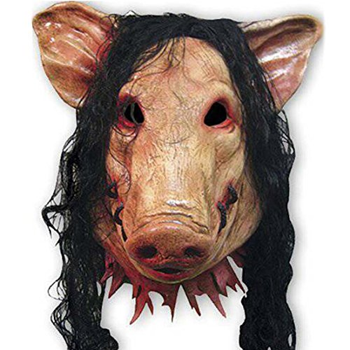 Samgo Halloween Long Hair Pig Head Latex Decoration Costume Masks