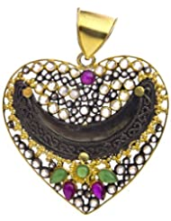 Exotic India Heart-Shape Gold Plated Pendant With Ruby And Emerald - Sterling Silver