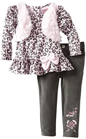 Nannette Baby-Girls Infant 2 Piece Leopard Pant Set, Grey, 12 Months