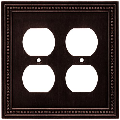 Brainerd 64402 Beaded Double Duplex Wall Plate / Switch Plate / Cover, Venetian Bronze