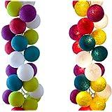 stoff ball lichterkette farbige kugeln kugel lichterketten beleuchtung. Black Bedroom Furniture Sets. Home Design Ideas