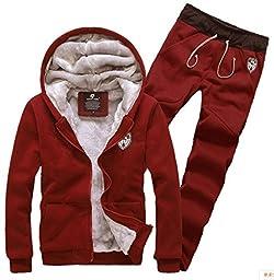 Yonger Men\'s Winter Clothes Plus Velvet Sweatshirt Set Warm Sweater Suit Coat + Pants (XX-Large, Red)