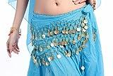 Homgaty Blue 3 Rows Belly Dance Hip Scarf Wrap Belt Dancer Skirt Costume Belt Coin Light Blue