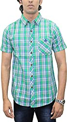AA' Southbay Men's Mint Green & White Twill Checks 100% Premium Cotton Half Sleeve Casual Shirt